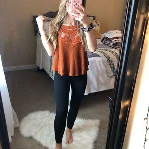 Tops - Burnt Orange Lace Halter Swing Tank Top